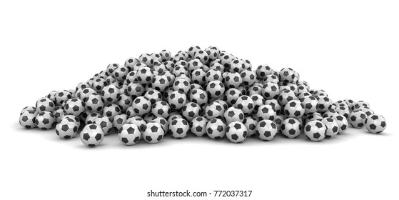 3d illustration. Pile of Soccer footballs. Image with clipping path