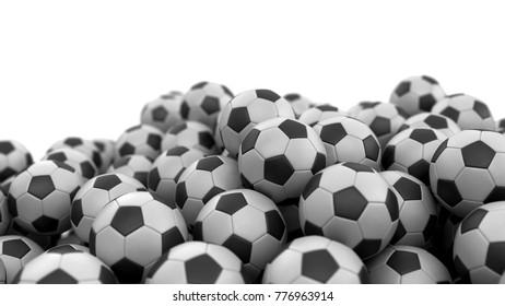 3d Illustration. Pile of Soccer footballs