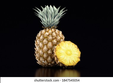 3D Illustration Pineapple and Sliced Pineapple with Leaves on Black Background