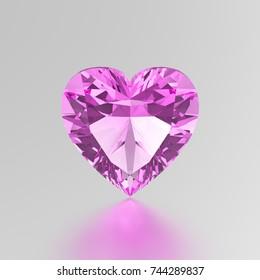 3D illustration pink diamond heart stone on a grey background