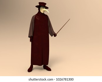 3d illustration of a plague doctor