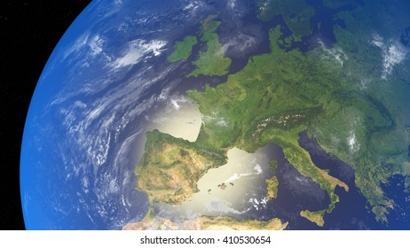3D illustration of planet Earth with continents and blue ocean waters. Elements of this image furnished by NASA