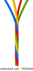 3D illustration of plastic cords twisted