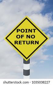 3D illustration of POINT OF NO RETURN script on road sign