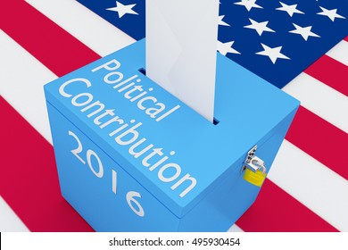"3D illustration of ""Political Contribution"", ""2016"" scripts and on ballot box, with US flag as a background."