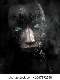 3d illustration portrait of scary ghost woman,Horror image,Ghost image concept and ideas
