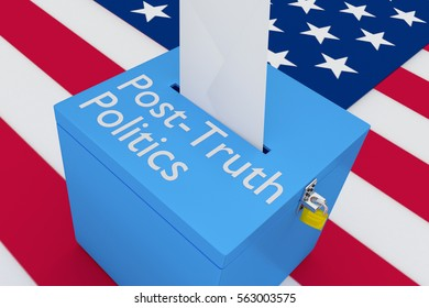 """3D illustration of """"Post-Truth Politics"""" scripts on a ballot box, with US flag as a background."""