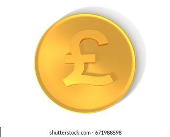 3d illustration Pound Currency Symbol