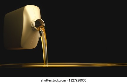 3D illustration. Pouring engine oil on flat surface with black background. Your text on the black background.