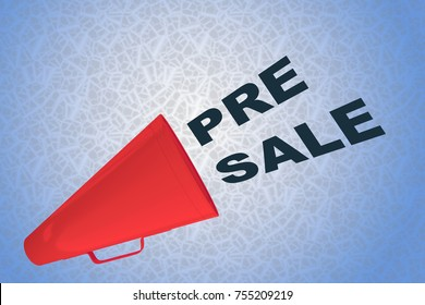 "3D illustration of ""PRE SALE"" title flowing from a loudspeaker"