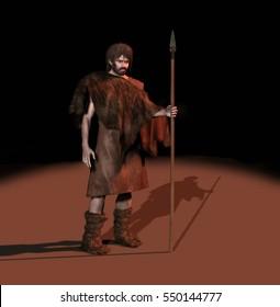 3d illustration of a prehistoric man