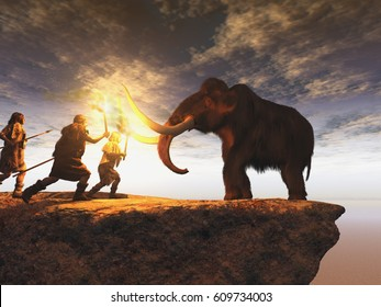 3d illustration of prehistoric men hunting a young mammoth