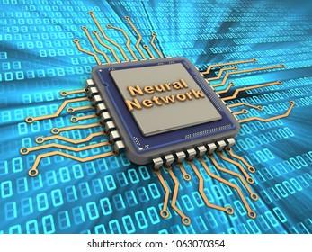 3d illustration of processor over digital background with neural network sign