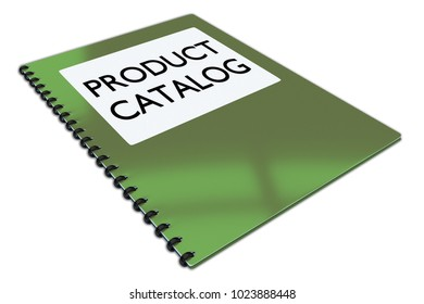 3D illustration of PRODUCT CATALOG script on a booklet, isolated on white.