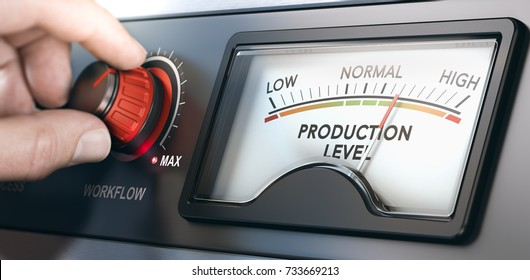 3D illustration of a production dashboard with hand turning a red knob. Concept of correlation between workflow and productivity. Composite image between a hand photography and a 3D background.