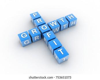 3d illustration profit growth crossword