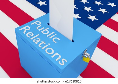 "3D illustration of ""Public Relations"" script on a ballot box, with US flag as a background."