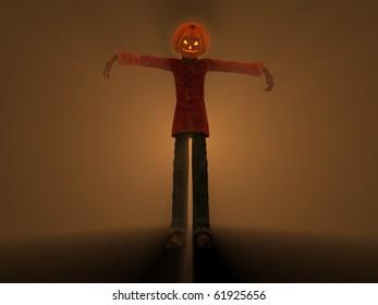 3d illustration of pumpkin man Halloween character