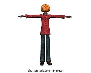 3D Illustration of a pumpkinman