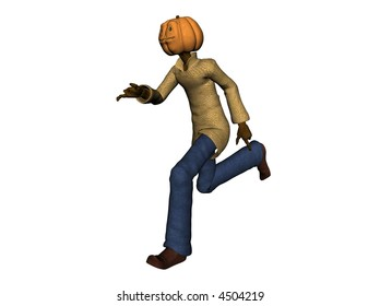 3D Illustration of a pumpkin-man