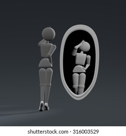3D illustration. Puppet person, people. Elegant woman preens before a mirror. Background dark