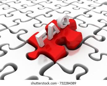 3d illustration Puzzle and FAQ