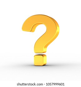 3D illustration of the question mark symbol as a polished golden object over white background with clipping path for quick and accurate isolation.