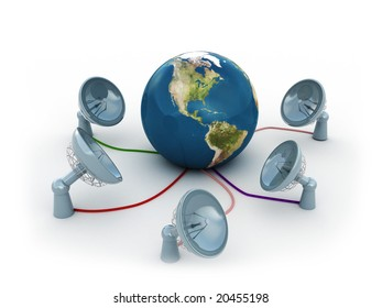 3d illustration of radio-aerials,antennas, connected to earth over white