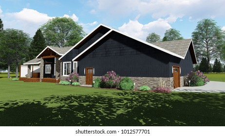 3D Illustration of Ranch Home