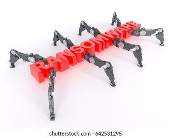 3D illustration of Ransomware text in the shape of a cyber bug