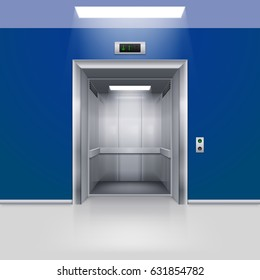 3D Illustration. Raster version. Realistic Empty Modern Elevator with Open Door in Blue Hall