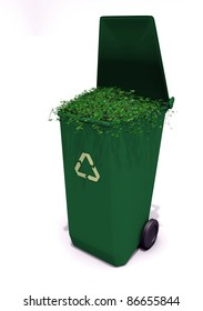 3d illustration of a recycle container with ivy