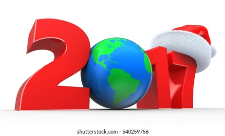 3d illustration of red 2017 year sign over white background with earth globe