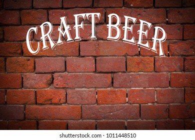 3d illustration of a red brick wall with a white inscription kraft beer.