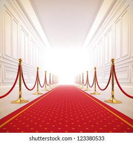 A 3d illustration of red carpet path to the success light.