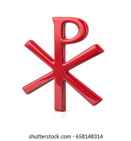 3d illustration of red chi rho christian symbol isolated on white background