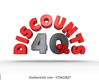 3D Illustration of Red Discounts text with 40 Percent