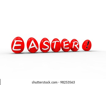 3d illustration of red eggs standing with writing above the word easter