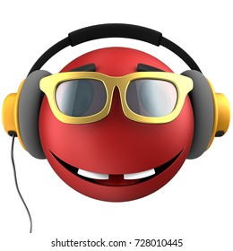 3d illustration of red emoticon smile with yellow headphones over white background