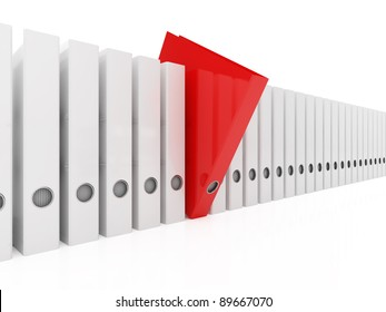 3d illustration of red folder within white