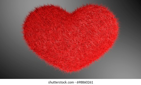 3D illustration, red heart with black background.