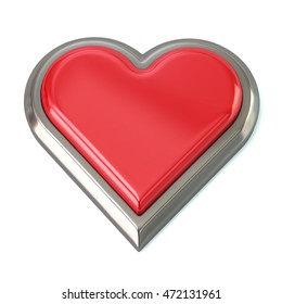 3d illustration of red heart button isolated on white background