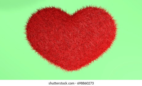 3D illustration, red heart with green background.