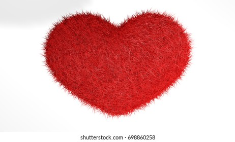 3D illustration, red heart with white background.