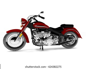 3D illustration red isolated classic motorcycle.