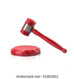 3d illustration of red judges gavel icon isolated on white background