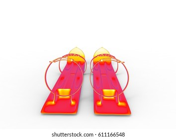 3d illustration of red kids skis. white background isolated. icon for game web.