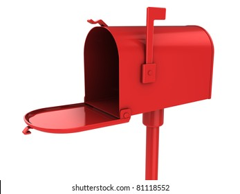 3d illustration of red mailbox isolated over white
