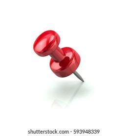 3d illustration of red push pin isolated on white background