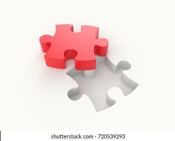 3D illustration - Red puzzle piece